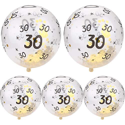 Happy Birthday Gold Confetti Balloons - Gbell 5Pcs 30th 40 50th Happy Birthday Age Confetti Filled Balloons Bulk Wedding Anniversary Party Decor ()