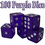 Brybelly Dice (100 Count), Purple, 19mm
