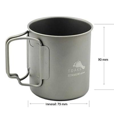 TOAKS 450ML Titanium Cup design sportif ultra-léger, sain et écologique respectueux de l'environnement, appareil de cuisine pique-nique portable pour camping et Voyage en voiture (famille), 76g, CUP-450