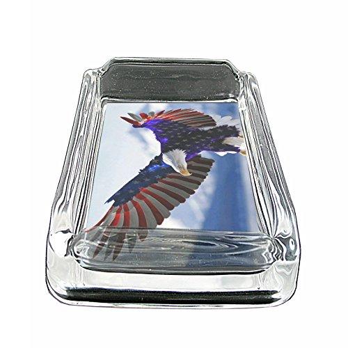 American Flag USA S18 Glass Square Ashtray 4