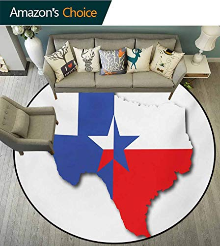Texas Star Washable Creative Modern Round Rug,Outline Of The Texas Map American Southwest Austin Houston City Coffee Table Mat Non-Skid Living Room Carpet,Diameter-71 Inch Vermilion White Violet Blue