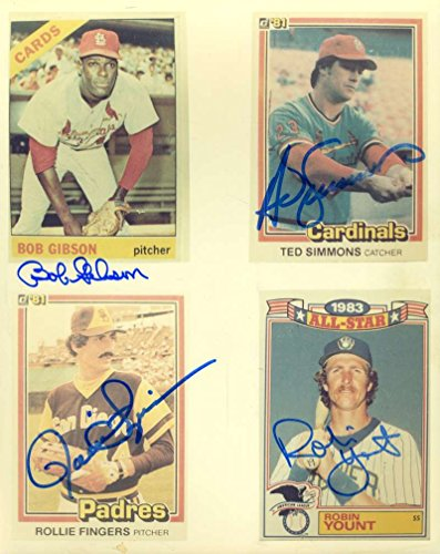 Bob Gibson Autograph (BOB GIBSON ROBIN YOUNT FINGERS SIMMONS JSA HAND SIGNED 8X10 PHOTO AUTOGRAPH)