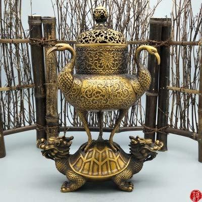 ZAMTAC Antique Brass Ornaments, Dragon Turtle Crane Incense Burner Home Decoration