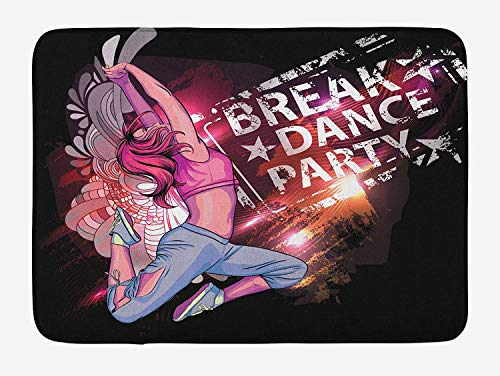 Weeosazg Youth Bath Mat, Break Dance Party Poster Design with a Teen Girl Jumping Disco Nightclub Lifestyle, Plush Bathroom Decor Mat with Non Slip Backing, 31.5 X 19.7 Inches, Multicolor]()
