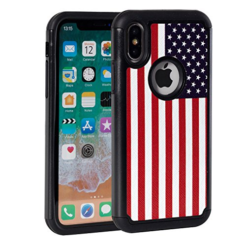 10 Case,Rossy USA American Flag Design Heavy Duty Shock-Absorption Silicone Plastic Hybrid Dual Layer Armor Defender Protective Case Cove for Apple iPhone 10/iPhone X (2017) (Silicone Flag)