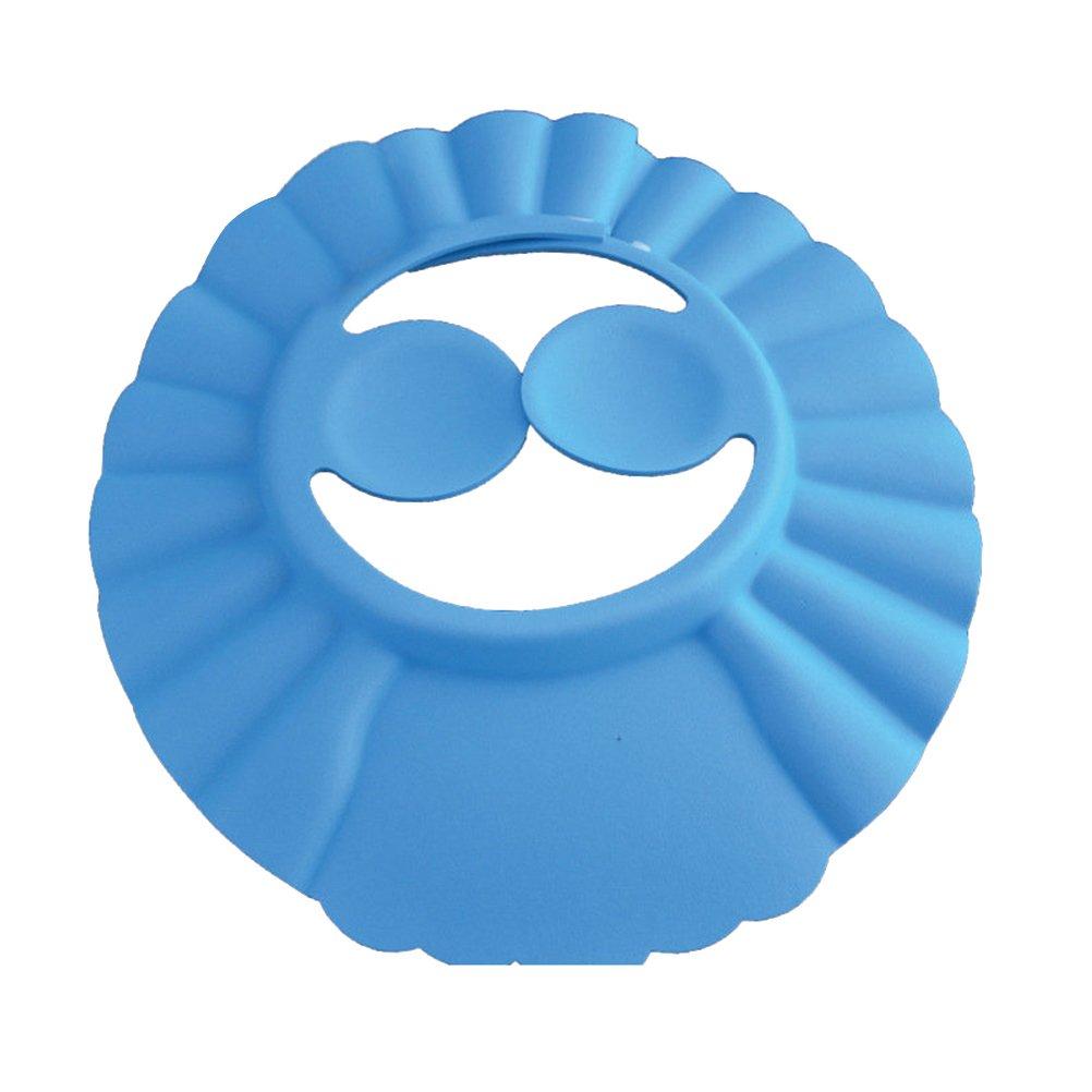 Ounona enfant Bonnet de douche Bain Chapeau de protection de lavage de cheveux Shampooing Bouclier pour enfants Bébés avec des Tampons de protection auditive (Bleu)