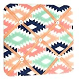 Bacati Aztec Emma Girls Fabric Memory/Memo Photo Bulletin Board, Coral/Mint/Navy