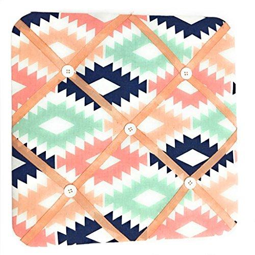 Orange Fabric Memo Board - Bacati Aztec Emma Girls Fabric Memory/Memo Photo Bulletin Board, Coral/Mint/Navy