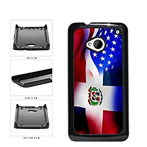 Dominican Republic and USA Mixed Flag Plastic Phone Case Back Cover HTC One M7