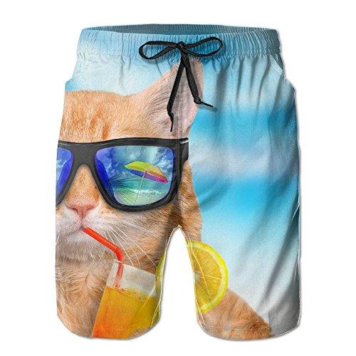 ZhiqianDF Men's Cat Wearing Sunglasses Relaxing In The Sea White Basic Swim Trunks XXL Adjustable Beach Shorts With - Sunglasses Laguna Beach
