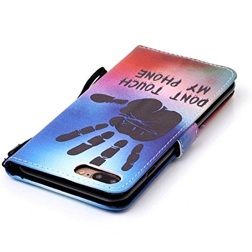 Support Étui Apple 7 iPhone Colorful Case Haut Leather Housse 5 5 pouces Folio PU PU et Flip Cover Coque Nancen avec Bookstyle Portefeuille Protection Plus Cuir de main de la empreinte Fonction Qualité Wallet Stand Fen fqdE5wqxT