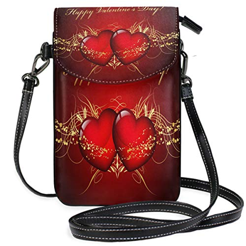 Valentine's Day Double Heart Background Small Crossbody Bag Cellphone Wallet Womens Mini Leather Shoulder Bags