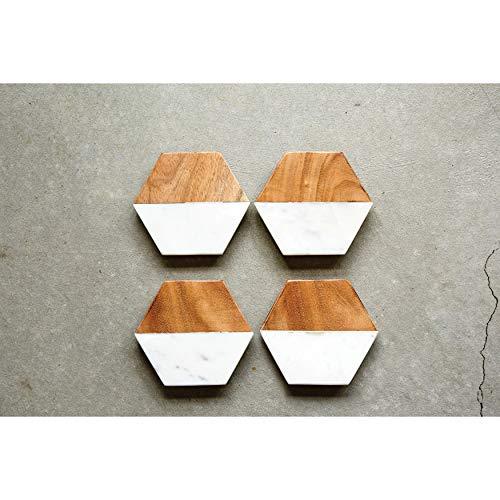 Creative Co-Op DA6336 Set of 4 Marble & Mango Wood Hexagon Coasters by Creative Co-op (Image #2)