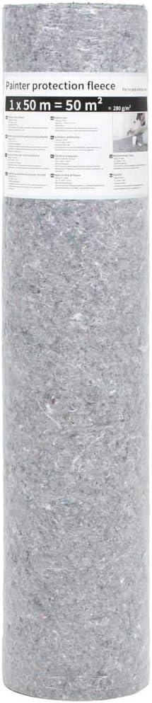 vidaXL 2x Manta Fieltro Pintor Protege Suelo Antideslizante Gris 50 m 180 g//m/²
