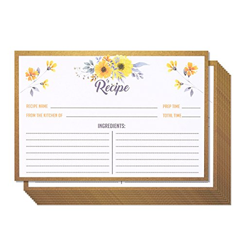 Designs Recipe Card (Recipe Cards – 60-Pack Blank Recipe Cards, Double-Sided, Floral Design, Perfect for Wedding, Bridal Shower, and Special Occasion, 4 x 6 Inches)