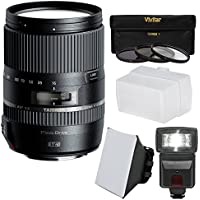 Tamron 16-300mm f/3.5-6.3 Di II VC PZD Macro Zoom Lens with 3 Filters + Flash + Soft Box + Diffuser + Kit for Canon EOS Digital SLR Cameras