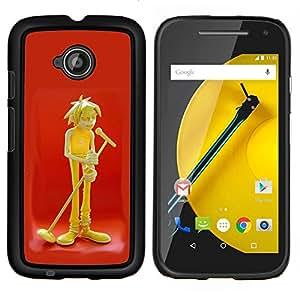 """For Motorola Moto E2 / E 2nd gen Case , Dibujo Música Micrófono Arte Boy Cantante"""" - Diseño Patrón Teléfono Caso Cubierta Case Bumper Duro Protección Case Cover Funda"""