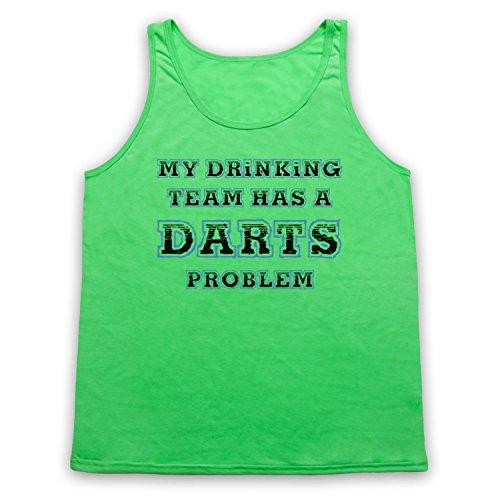 My Drinking Team Has A Darts Problem Funny Darts Slogan Tank-Top Weste, Neon Grun, XL