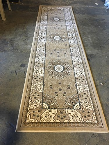 Traditional Entryway (Traditional Long Runner Rug 500,000 Point Beige Persian 404 (32 Inch X 15 Feet 10 Inch))