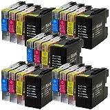 Prestige Cartridge LC1280/LC1240 Lot de 20 Cartouches d'encre compatible avec Imprimante Brother MFC-J5910DW, MFC-J6510DW, MFC-J6710D, MFC-J6710DW, MFC-J6910DW, Noir/Cyan/Magenta/Jaune