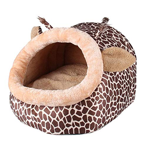 bluee LCookisn New Creative Soft Warm Dog House Leopard Pet Sleeping Bag House for Small Medium Dog Cats Pet Supplies Cat Products S M L bluee L