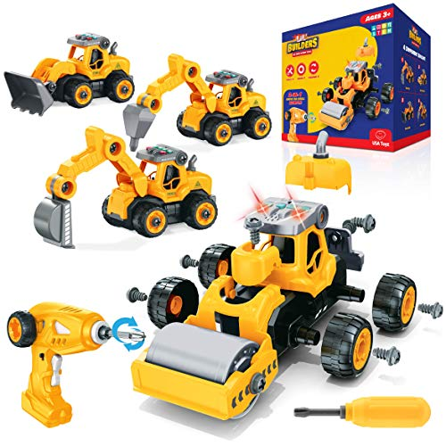 USA Toyz Lil Builders RC Truck Building Toys for Kids - Educational Toys 4-in-1 Remote Control Take Apart STEM Toys, Build Your Own Construction Toy Trucks with Toy Drill Remote (34 Pieces)