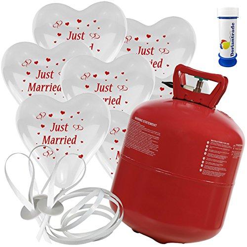 100 Herz Luftballons mit Helium Ballon Gas Motiv Just Married Hochzeit Valentinstag Komplettset + Gratis Doriantrade Seifenblasen (Weiß)