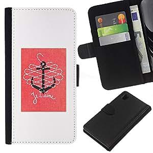 All Phone Most Case / Oferta Especial Cáscara Funda de cuero Monedero Cubierta de proteccion Caso / Wallet Case for Sony Xperia Z1 L39 // T'Aime Love Pink White Anchor Quote