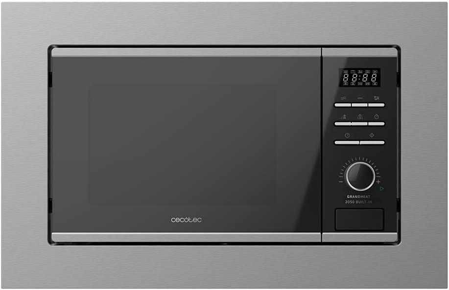 Cecotec Microondas encastrable Digital GrandHeat 2050 Built-In Steel Black. 800 W, Integrable, 20 Litros, Grill, 7 Funciones, Revestimiento interior cerámico