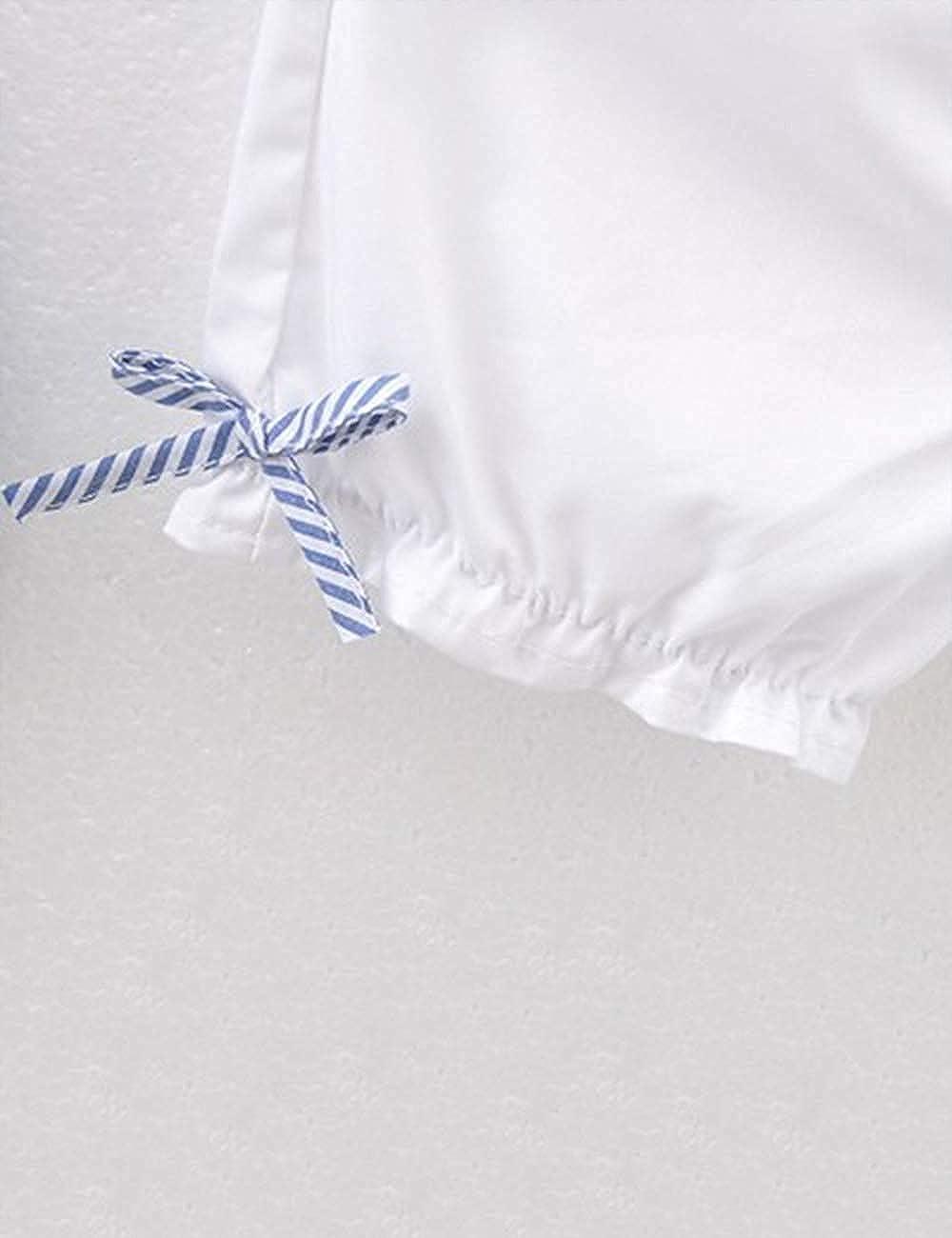 ZIYOYOR 2Pcs Toddler Baby Girl Summer Outfits Ruffle T-Shirt Stripe Tops and Shorts Clothing Sets