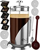 French Press Coffee & Tea Maker Complete Bundle | 34 oz | No Unsafe Plastic Lid Best Coffee Pot with Stainless Steel &...
