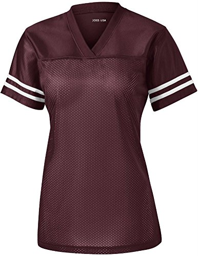 Joe's USA Ladies Replica Athletic Football Jersey-Maroon-M