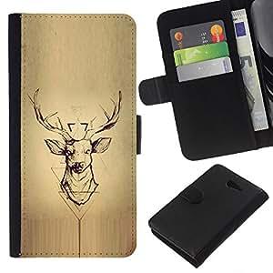 KingStore / Leather Etui en cuir / Sony Xperia M2 / Bois de cerfs Antlers