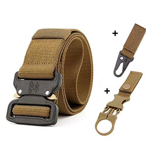 (Thicken Nylon Military Tactical Belt Outdoor Accessories Gear Automatic Metal Buckle Belt Men Police Waistb with 2 hooks2 125cm)