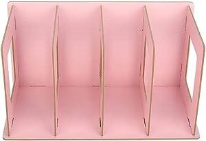 Yosooo Book Rack, Wooden DIY Desktop Bookshelf Rack Books DVD Storage Magazine Holder for Students Kids Adult(Light Pink)