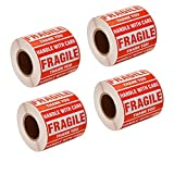 SJPACK 2000 Fragile Stickers 4 Rolls 2'' x 3'' Fragile - Handle with Care - Thank You Shipping Labels Stickers (500 Labels/Roll)