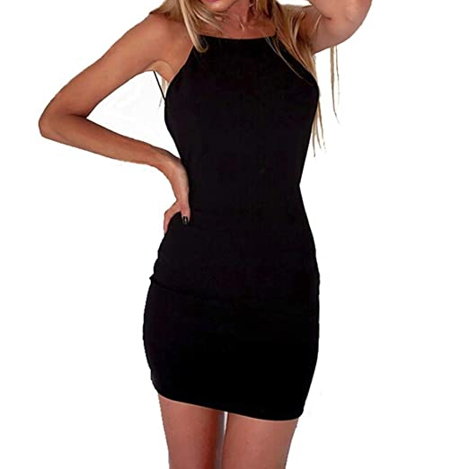 1c3bfd8bc676 Amazon.com: Women's Elegant Spaghetti Straps Backless Bodycon Solid Sexy Hot  Night Out Wear Evening Party Mini Dress for Ladies: Clothing