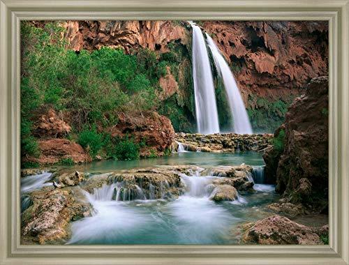 Canvas Art Framed 'Havasu Creek, Lined with Cottonwood Trees, Havasu Falls, Grand Canyon, Arizona' by Tim ()