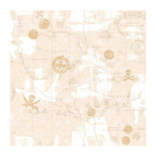 (York Wallcoverings ZB3106 Pirate Map Wallpaper, Sand Beige/Taupe/Dove Gray/Gold)
