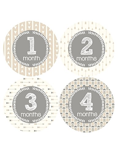 NEW Baby Month Stickers Baby Tribal Arrows Months 1-12 Monthly Age Sticker Girls Boys 1059