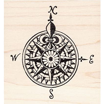 Amazon.com: Fancy Map Compass Rose Rubber Stamp: Arts ...