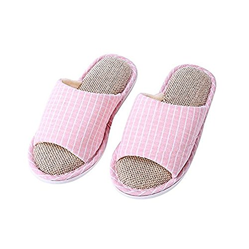 WILLIAM&KATE Womens and Mens House Slippers Memory Foam Cotton Slippers Flax Slippers Non-Slip Open Toe Couple Mules Shoes Soft Cozy & Washable Pink Lattice ESSPkSbBD