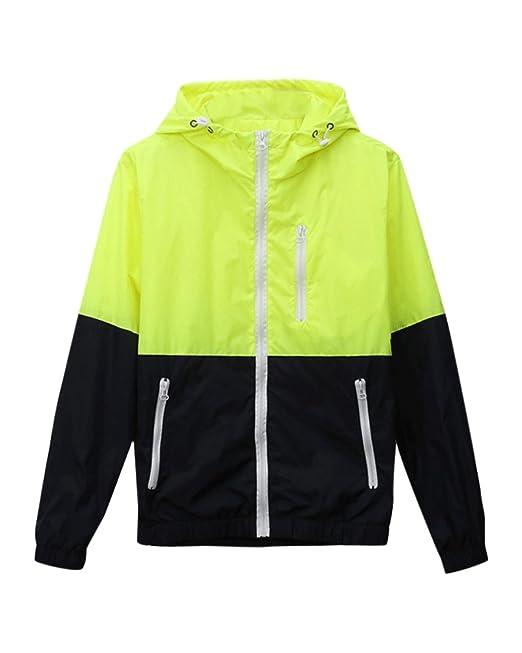 DianShao Cremallera Sudaderas con Capucha Chaqueta Corta Jacket Casual Sweatshirt Hombres Verde Fluorescente L: Amazon.es: Ropa y accesorios