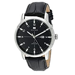 Tommy Hilfiger Men's 1710330 Stainless Steel Watch with Black Genuine Leather Band