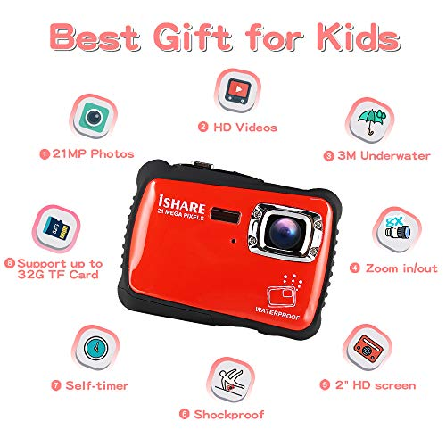 Waterproof Digital Camera for Kids, ishare Update Underwater Camera with 2.0'' LCD, 8X Digital Zoom, 1080p Flash and Mic for Girls/Boys(RED) by ISHARE (Image #3)