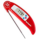 Barbestar Digital Food Cooking Thermometer Instant Read Meat Thermometer with Long Probe for Kitchen BBQ Grill Smoker Christmas Turkey, Includes Internal BBQ Meat Temperature Guide(Red)