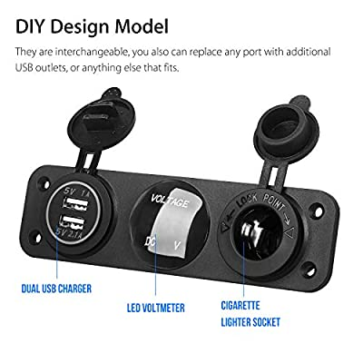 Linkstyle 3 in 1 Charger Socket Panel, 12V Dual USB Car Socket Charger Socket Power Outlet & LED Digital Voltmeter & Cigarette Lighter Socket Splitter Adapter for Truck Car Marine Boat RV: Automotive