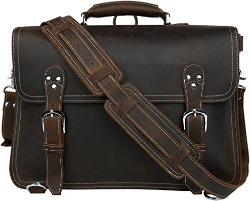 "Iswee Vintage Leather Messenger Bag Briefcase Shoulder Bags Handbags for Men Laptop Case Satchel Fit 16"" Bag by Iswee"