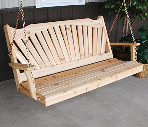(Aspen Tree Interiors Cedar Porch Swing, Amish Outdoor Hanging Porch Swings, Patio Wooden 2 Person Seat Swinging Bench, Weather Resistant Western Red Cedar Wood, 6 Styles (5ft, Fanback Unfinished) )
