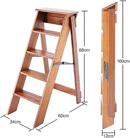 YWTD Escaleras Plegables Escalera Plegable de Madera Maciza Espesamiento Interior Escalera de Cinco Pasos Decoración Ático Familiar Escalera pequeña Multifuncional taburetes (Color : B): Amazon.es: Hogar